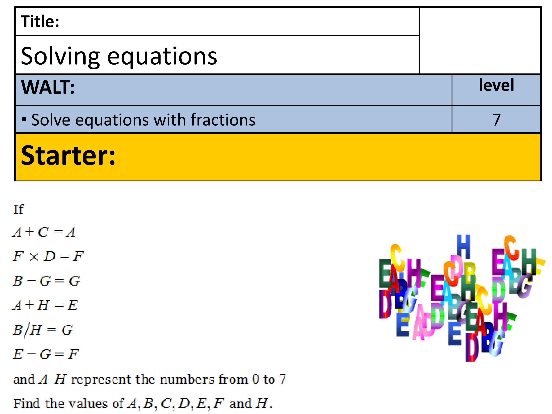 PPT On Algebraic Equation