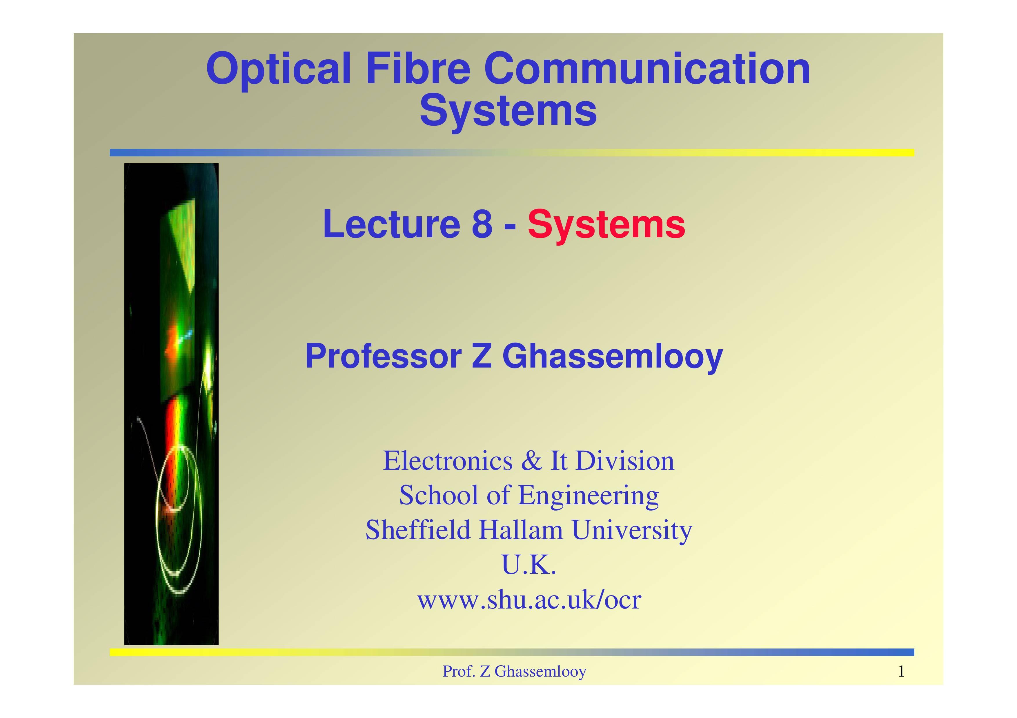 PPT On Optical Fiber Communication System