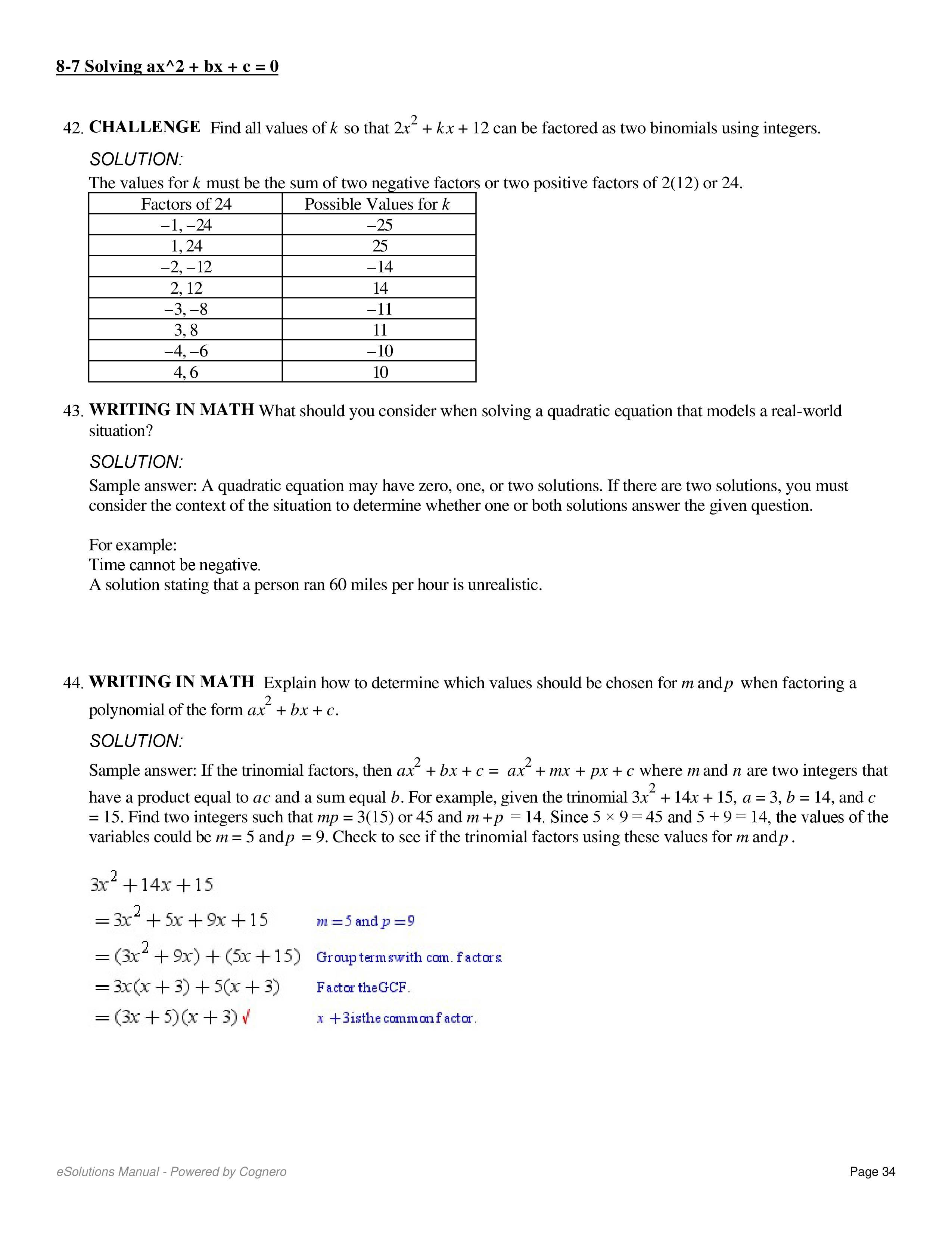 Solving Algebraic Equation - Notes